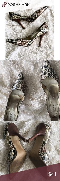 Guess Snake Heels 🐍 GUESS by Marciano snakeskin heels will invoke your wild and sexy side whether paired with jeans or a dress! Preowned some wear see photos Guess by Marciano Shoes Heels