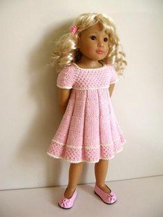 (6) Name: 'Knitting : PLEATED SUMMER too 18' slim doll dress