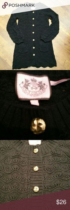 Juicy Couture Cardigan Cute cardigan wool viscose cashmere blend. Missing waist tie. Not very noticable.  Pre loved good condition. Juicy Couture Sweaters Cardigans