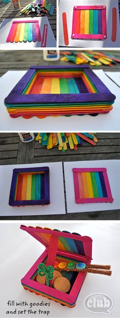 Rainbow colored leprechaun trap made from Popsicle sticks. So cute!