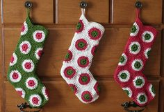 Going to make these this year.  Pattern by Priscilla Hewitt available for free at http://www.ravelry.com/patterns/library/polka-dot-christmas-stocking