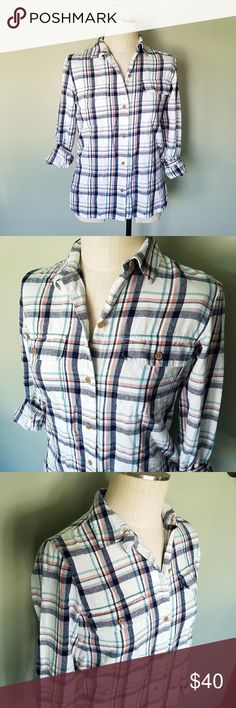 Madewell Plaid Flannel Button Up Shirt Madewell. Womens size Small.  White, blue, and red plaid pattern. Button down front. Long sleeves. Lightweight cotton.  2 front pockets. 2 side pockets. Excellent condition! Madewell Tops Button Down Shirts