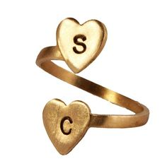 Personalized Brass Initial Gold Ring - Two Heart Initial Gold Ring #gold #ring http://www.loveitsomuch.com/