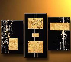 Gold Bars-Modern Canvas Art Wall Decor-Abstract Oil Painting Wall Art with Stretched Modern Canvas Art, Abstract Canvas Art, Oil Painting Abstract, Painting Frames, Canvas Wall Art, Painting Canvas, Wall Art Sets, Wall Art Decor, Glass Wall Art