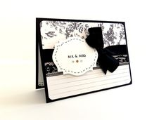 Wedding Card - Mr. & Mrs. Handmade Greeting Card, Black and Cream with Lace Ribbon. $5.00, via Etsy.