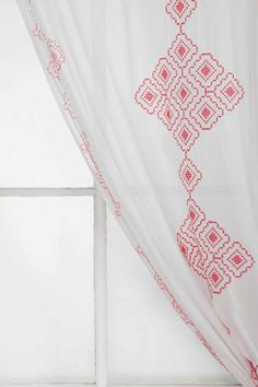 Magical Thinking Embroidered Diamond Curtain// for three windows in bedroom