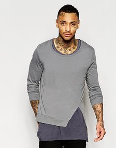 Image 1 of ASOS Longline Long Sleeve T-Shirts With Assymetric Split Hem