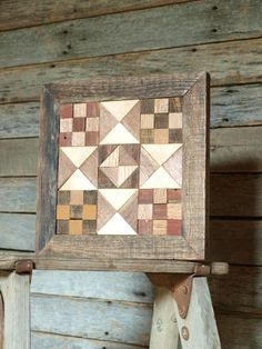 barn quilt block salvaged wood barn quilt by IlluminativeHarvest, $69.99 - very rustic but, a neat idea to use barn wood for the frame.