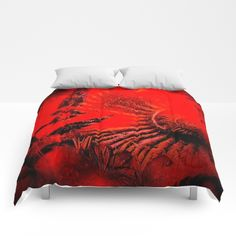 Ammonite Red & Buddleia Red Comforters