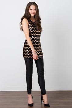 Suzy Shier Chevron Sequin Tunic Top