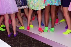 Neon Glow Socks, Bat Mitzvah Party Giveaways {Erica Westmoreland Photography} - mazelmoments.com