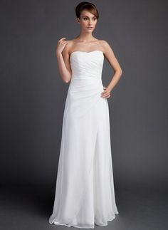 Sheath/Column Sweetheart Sweep Train Chiffon Wedding Dress With Ruffle (002011592) - JJsHouse