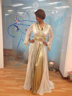 Gorgeous cream and gold kaftan
