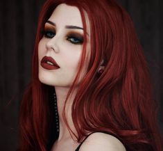 Hot Red Hair Color and Hot Red Hair Models Recently shades of red hair color have become extremely popular in the world of hair. Red hair color in itself has many different shades. Goth Makeup, Dark Makeup, Makeup With Red Hair, Retro Makeup, Makeup Salon, Makeup Studio, Vintage Makeup, Makeup Art, Goth Beauty