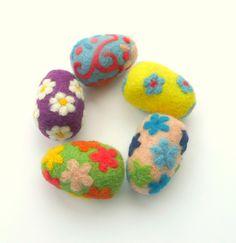 5 felted wool eggs handmade pincushion magic whimsy by astashtoys, $37.00