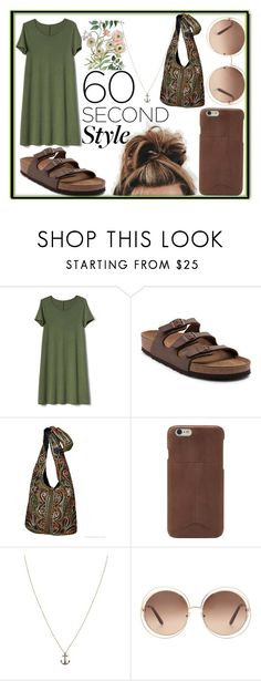 """""""60 Second Style"""" by annemarie3000 ❤ liked on Polyvore featuring Gap, Birkenstock, FOSSIL, Annoushka, Chloé and tshirtdresses"""