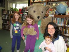 Julia, Brianna, Sarah and Darlene got to meet Corduroy at CADL Dansville's Family Read Night. Corduroy Bear, Meet, Night, Reading, School, Party, Word Reading, Parties, Reading Books