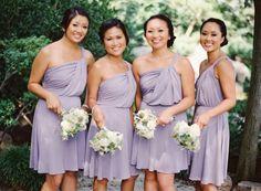 light purple short bridesmaid dress #oneshoulder #lilac #lavender #purple