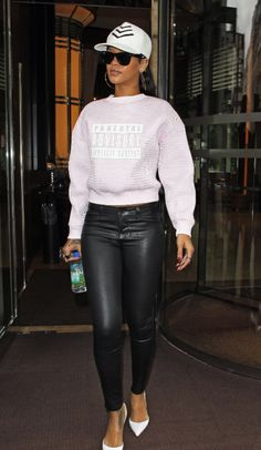 Rihannas-London-Alexander-Wang-Spring-2014-Parental-Advisory-Sweater-Leather-Pants-and-Manolo-Blahnik-White-Pumps LOVE THIS LOOK