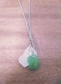 Lake Superior Sea Glass Pendants  Green and by WildBlueCreations