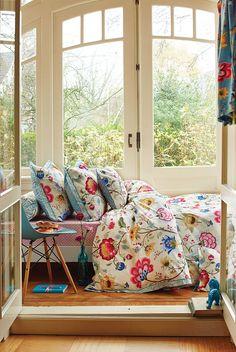Bedroom: Indian style floral print bedding. PiP Floral Fantasy Duvet Cover Ecru