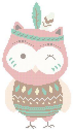 Cross Stitch Owl, Free Cross Stitch Charts, Cat Cross Stitches, Modern Cross Stitch, Cross Stitch Designs, Cross Stitching, Cross Stitch Patterns, Loom Patterns, Owl Embroidery