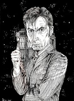 David Tennant as the tenth Dr. Who, pen and ink by Dan West