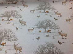 FRYETT`S 100% Cotton TATTON Woodland Fabric for Curtain/Upholstery-Fox-Stag-Deer #Fryetts