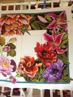 Textile Prints, Textile Art, Art Prints, Block Prints, Fabric Painting, Fabric Art, Flower Crafts, Flower Art, Guache