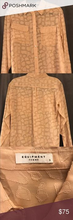 Equipment silk blouse Blouse has giraffe 'print'. Color is a peachy tan Equipment Tops Blouses