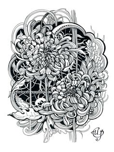 chrysanthemum Art Print by Irina Vinnik Blank Coloring Pages, Adult Coloring Book Pages, Coloring Books, Ink Pen Drawings, Zentangle Drawings, Zentangles, Full Tattoo, Cover Tattoo, Floral Drawing
