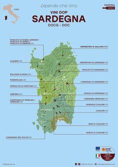 Tutti i vini DOP (DOCG e DOC) della Sardegna, localizzati sulla carta regionale.  Al link le informazioni sulle tipologie e sugli uvaggi.  Italian Wine Region Sardinia. Wine Chart, Wine News, Education Humor, Wine Drinks, Beverages, Italian Wine, Travel Design, Fine Wine, Travel Quotes
