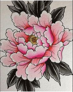 Chest Tattoo Japanese, Japanese Peony Tattoo, Japanese Tattoo Designs, Japanese Flowers, Tattoo Old School, Old School Tattoo Designs, Chest Tattoo With Meaning, Dragon Koi Tattoo Design, Flower Line Drawings