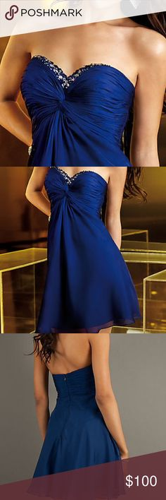 Blue strapless cocktail dress Was a perfect Homecoming dress!!! Parkling jeweled accents adorn the sweetheart neckline of this elegant short strapless dress in blue or fuchsia. A stunning strapless cocktail dress for homecoming or special occasions by Alyce Designs featuring a ruched bust line, empire waist and flowing short A-line chiffon skirt. Dresses Strapless