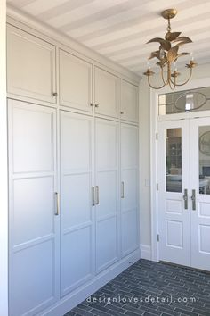 Mudroom cabinetry that functions as lockers but looks so much better! Mudroom cabinetry that functions as lockers but looks so much better! Mudroom Laundry Room, Mudroom Cabinets, Bench Mudroom, Mud Room Lockers, Entry Lockers, Built In Lockers, Wall Storage Cabinets, Tall Cabinets, Built In Cabinets