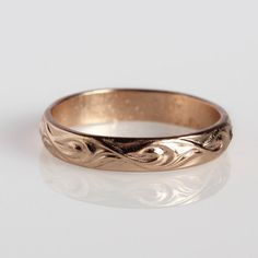 Stacking ring Delicate classic thin wave rose gold by meydalle, $39.00