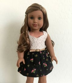Lace and Floral Dress by BuzzinBea on Etsy. Made with the LJC Peplum Top pattern, available at http://www.pixiefaire.com/products/peplum-top-18-doll-clothes. #pixiefaire #libertyjane #peplumtop