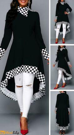 c324805a2f53 Long Sleeve Checkered Print Black High Low Sweatshirt. fashion and simple