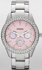 Women Fossil ES2946 Stella Stainless Steel Stella Pink Dial Day Date