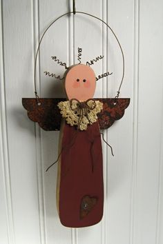Primitive+Wooden+Christmas+Angel+with+Rusty+Tin+by+TheCountryTouch,+$12.50
