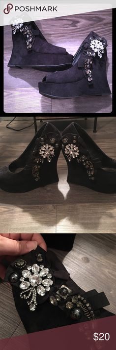 Wedge shoes Black suede wedges with crystals! Great for going out! Zigi Soho Shoes Wedges