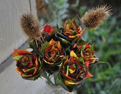 6 FALL Maple Leaf Roses With Teasel. REAL LEAVES by TreeTownPaper
