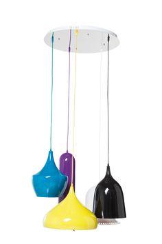 KARE Design Leuchte HL Cuisine Round 5er in bunten Farben und Formen mit fünf Schirmen aus lackiertem Aluminium und textilbezogenem Kabel, ausgelegt für maximal 60 Watt. #KARE #KAREDesign