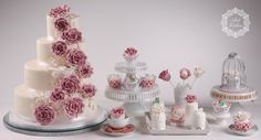 sweet table with vintage desserts. Vintage cake, cupcakes, mini cakes and interesting cake pops. www.artcakes.sk