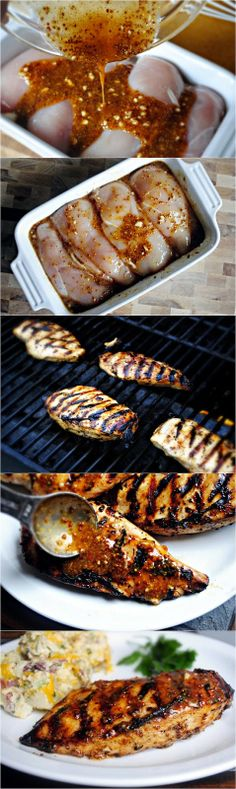 """Grilled Honey Mustard Chicken """"I have made this recipe a dozen times; whether a quick marinade then on the grill, marinade for a few hours then sear on a grill pan or in the oven… and every single time I make it I wonder how it could possibly be so dan I Love Food, Good Food, Yummy Food, Grilled Honey Mustard Chicken, Honey Chicken, Quick Marinade For Chicken, Chicken Breast On Grill, Sides For Grilled Chicken, Baked Chicken"""