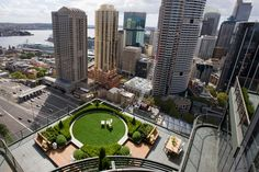 Designed by The Secret Gardens of Sydney, this rooftop garden is hidden over 25 floors above the city. Green sculptured rooftop garden sits in the middle of skyscrapers. Buxus hedging and topiary c… Landscape Architecture, Landscape Design, Garden Design, Green Architecture, Sustainable Architecture, Secret Hideaway, Rooftop Design, Eco City, Garden Inspiration