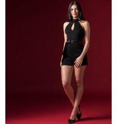 Ολόσωμο Σορτς Lurex με Κολάρο - Μαύρο Jumpsuit, Black, Dresses, Fashion, Overalls, Vestidos, Moda, Monkeys, Black People