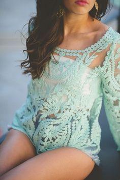 mint lace top, white bandeau, denim shorts