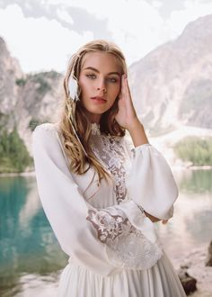 """Beautiful Embroidered Bohemian A-Lane Wedding Dress / Bridal Gown with High Neck, Long Sleeves and a Train. Collection """"Wind Rose"""" 2019 by Armonia Bridal Dresses, Flower Girl Dresses, Wind Rose, Rose Dress, Bohemian, Model, Beautiful, Collection, Train"""