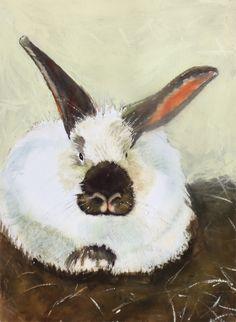 "'""Hank"" The Bunny' by Pixie  Glore | $250 | 9"" x 14"" | Original Art | http://www.arttwo50.com/buy/art/hank-the-bunny"